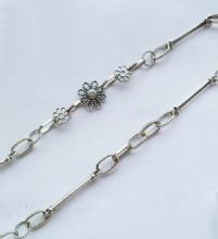 Tibetan Style Silver Flower, Bar & Twisted ring chain x 1m unfinished length